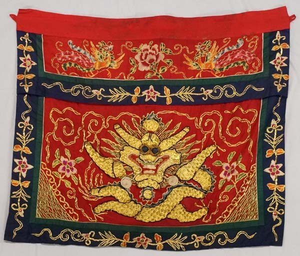 Chinese Dragon Gold Thread on Silk Tapestry Banner