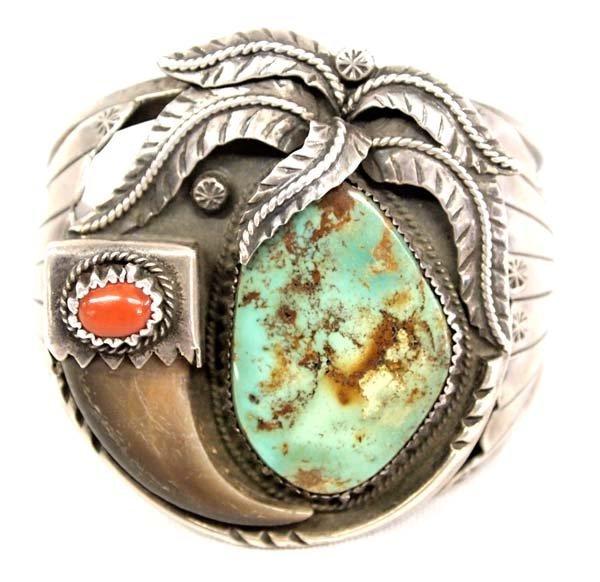 Navajo Old Pawn Silver Turquoise Bracelet, Kakiki