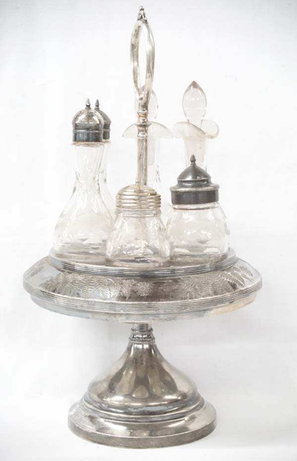 Antique Glass Condiment Tray, Complete Set