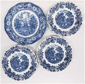 3 Booth English China Plates, 1 Staffordshire