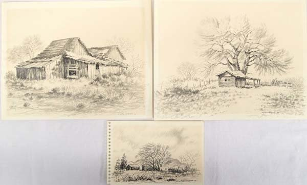3 1979 Original Pencil Drawings by T. Valverde