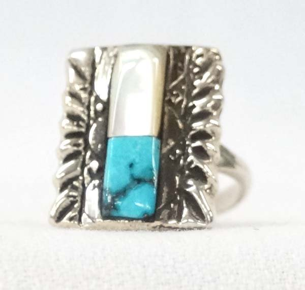 Native American Navajo Silver Turquoise Ring, 6.5