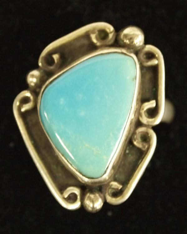 1950 Navajo Silver Turquoise Ring, Size 9.5