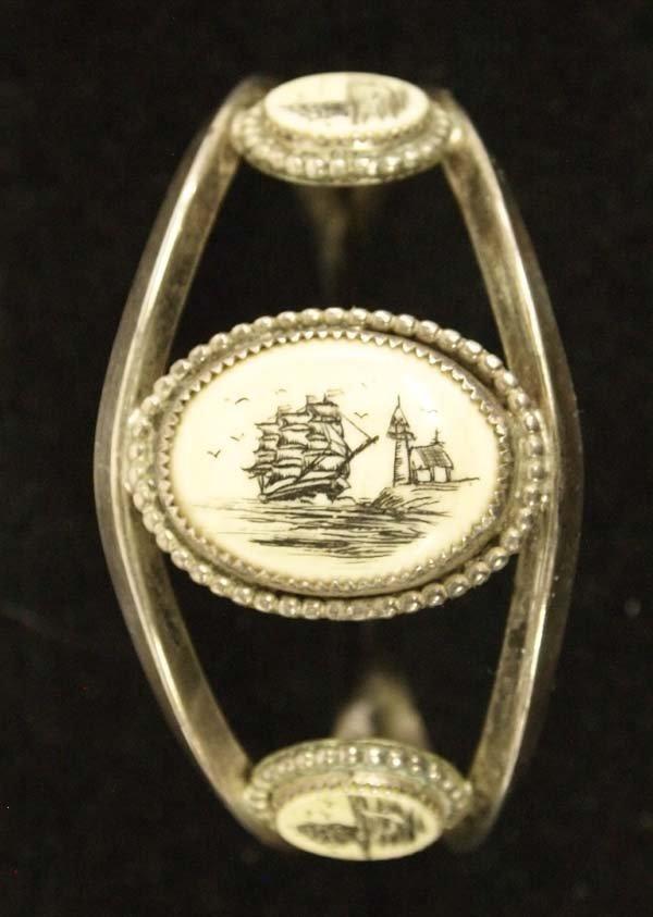 Navajo Sterling Silver Scrimshaw Cuff Bracelet