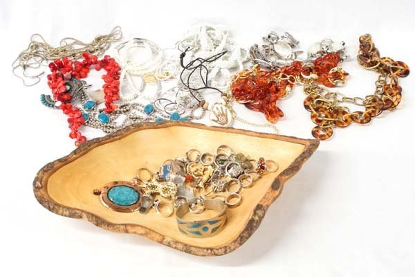 Large Collection of Costume Jewelry in Wood Bowl