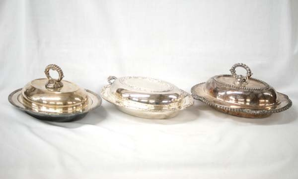 3 Vintage Silver Plated Covered Dishes
