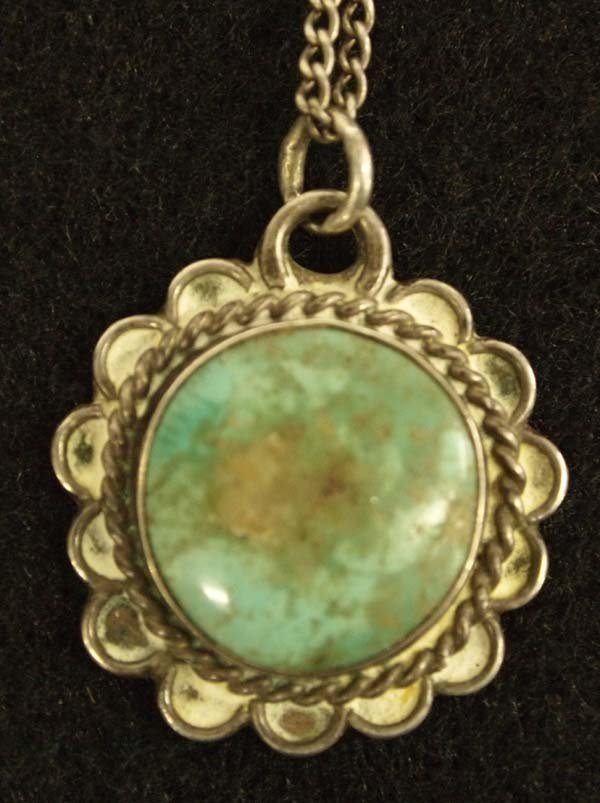 1940-50 Navajo Sterling Turquoise Pendant Necklace