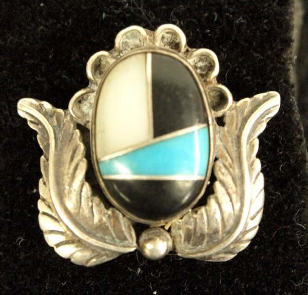 Zuni Silver Turquoise Mother of Pearl Ring, 7.75