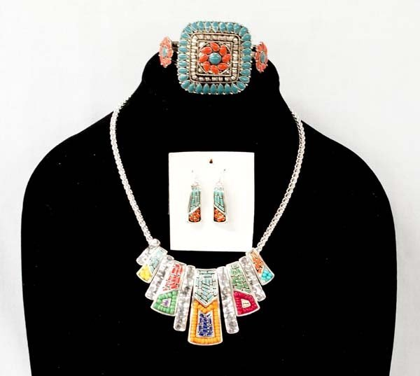 Tribal Necklace, Earrings, and Bracelet