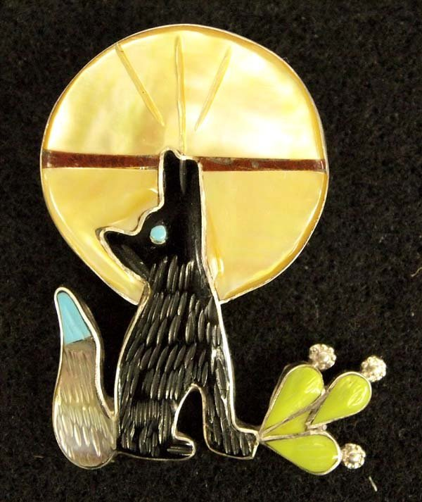 Zuni Sterling Inlay Howling Coyote Pin Pendant