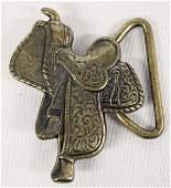 Vintage Silver Cowboy  Saddle Belt Buckle