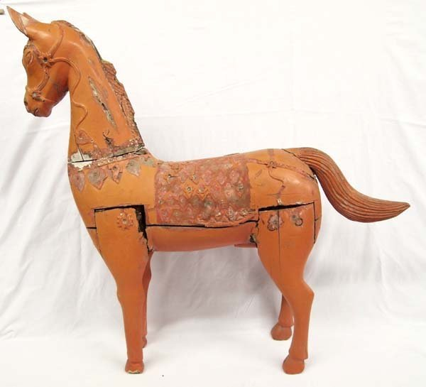 Antique Oriental Carved Wood Horse