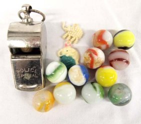 Antique Marbles, Cracker Jacks Toys, & Whistle