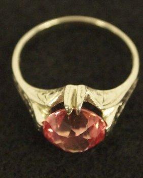 14kt White Gold & Tourmaline Ring, Size 6