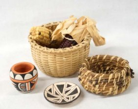 Native American Miniature Pottery And Baskets