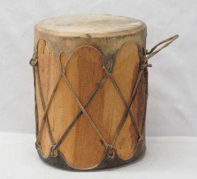 Native American Hide Covered Tom Tom Drum