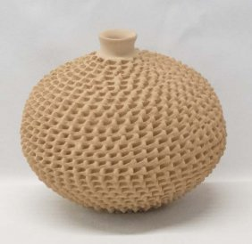 Mexican Mata Ortiz Highly Textured Jar By Perez