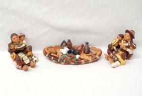 2 Peruvian Pottery Storytellers And 1 Canoe Vendor