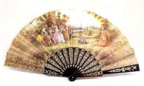 Antique Estate Victorian Hand Painted Ladies Fan
