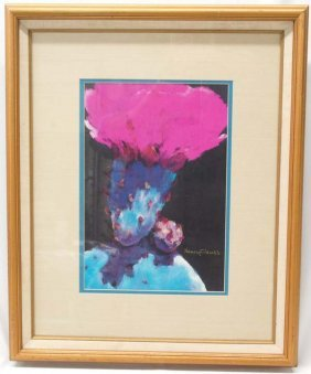 Nancy Clauss Pastel Prickly Pear Print, Signed