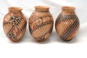 3 Mexican Mata Ortiz Polychrome Jars By Luis Ortiz