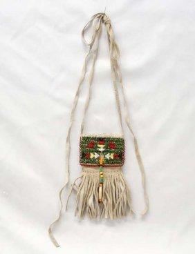 Native American Plains Indian Beaded Fringed Bag