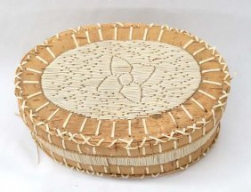 Native American Chippewa Quilled Oval Basket