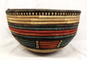 African Multi-colored Coiled Basket