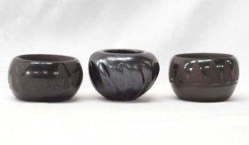 3 Native American Santa Clara Pottery Jars