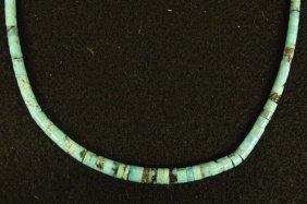 Navajo Bisbee Turquoise Heishi Choker Necklace