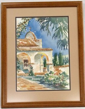 Original Spanish Mission Watercolor By Mcnall