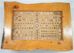 Hand Crafted Cedar Wood Arrowhead & Pottery Table