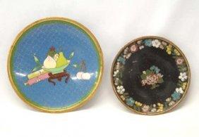 Pair Antique Cloissone Enamelware Plates