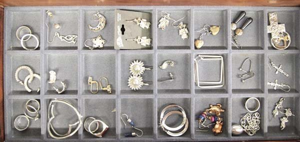 Collection of Sterling Silver Jewelry in Display