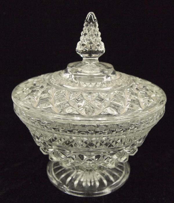 1940-1950 Pressed Glass Covered Candy Dish