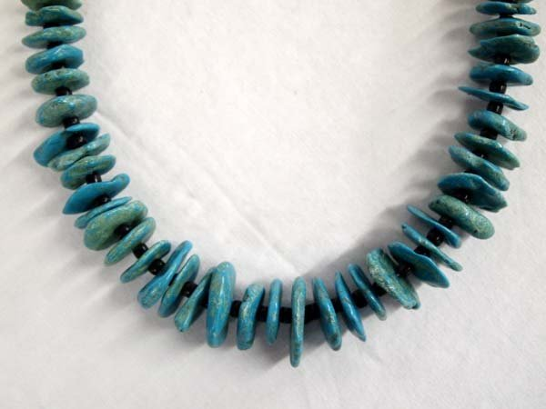 Navajo Crow Springs Turquoise Flat Nugget Necklace