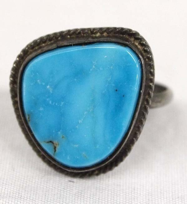 1950 Navajo Sterling Turquoise Ring, Size 8.75