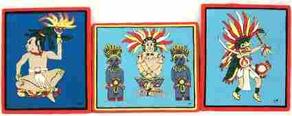 3 Huichol Indian Wool Yarn Art Pictures on Wood