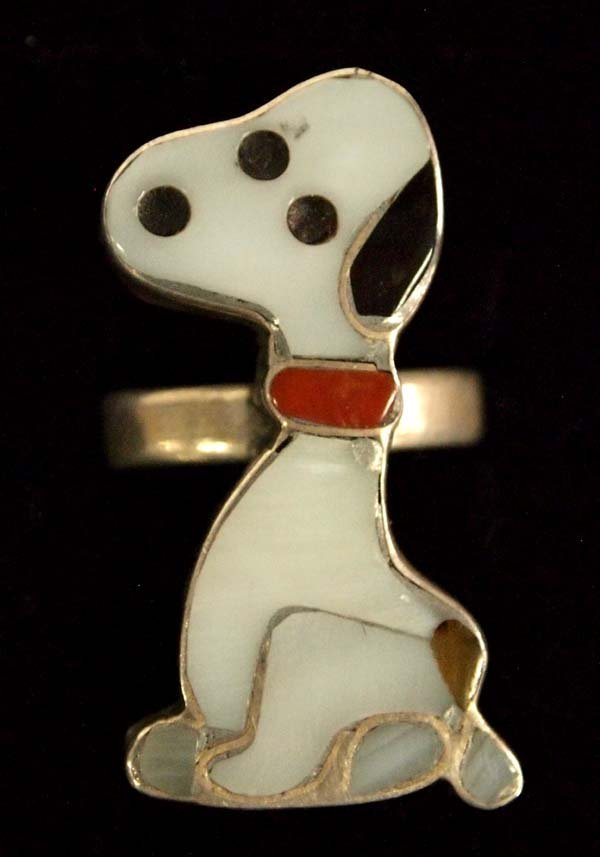 Zuni Sterling Silver Inlay Snoopy Ring, Size 4.5
