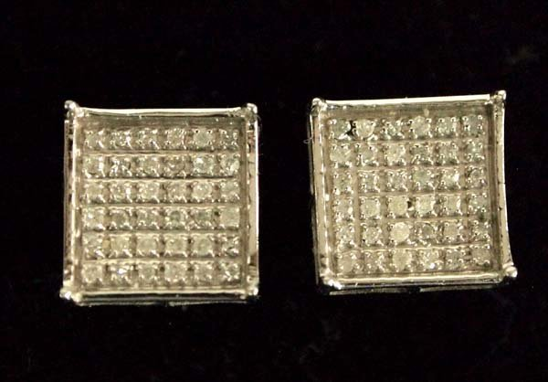 Sterling Silver Micro Pave White Diamond Earrings