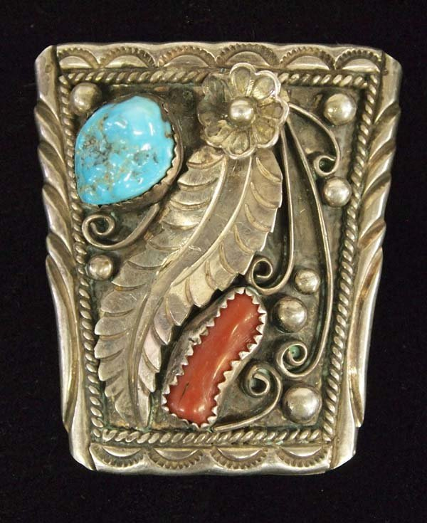 Navajo Silver Turquoise Coral Pin by Sally Yazzie