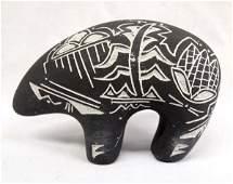 Native American Navajo Pottery Bear, Signed