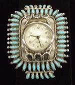 Navajo Silver Needlepoint Turquoise Watch Band