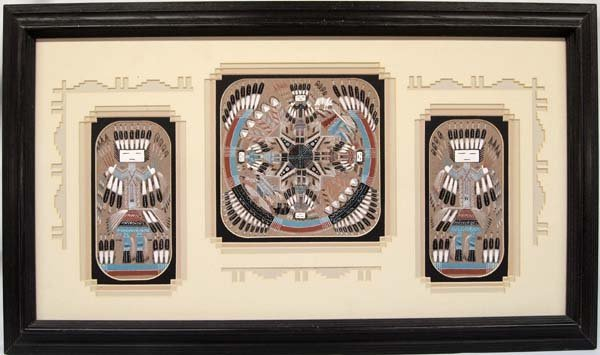 3 Navajo Sand Paintings by Sammy Myerson