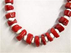 Navajo Red Branch Coral  Shell Bead Necklace