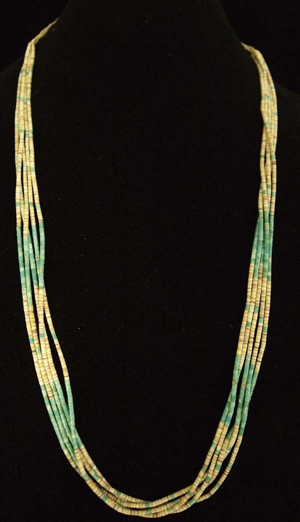 Navajo 5 Strand Turquoise and Shell Heishi Necklace