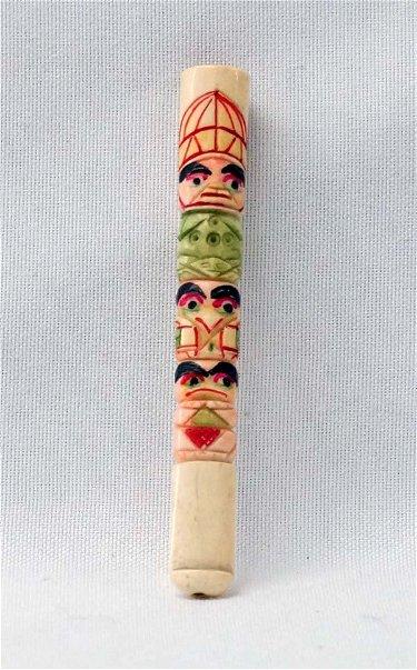 Vintage Carved Bone Totem Pole Cigarette Holder Jun 26 2016 Desert West Auction In Nm