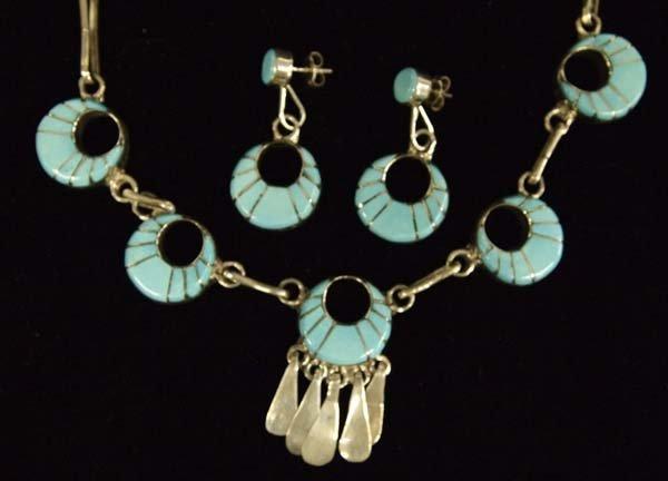 Native American Zuni Silver Necklace & Earrings