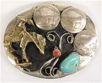 Buffalo Nickel Turquoise and Coral Cowboy Buckle