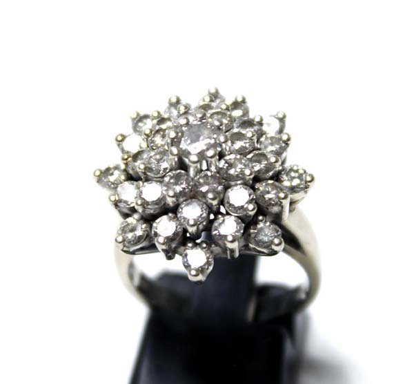 14K White Gold and Diamond Cluster Ring, Size 7